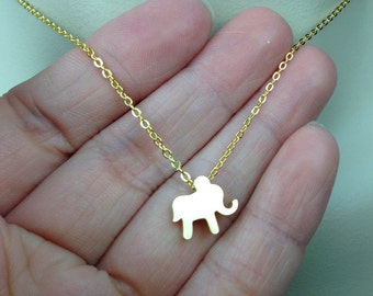 Gold Vermeil Elephant Necklace. Baby Elephant Necklace. Everyday Jewelry. Animal Necklace. Good Luck necklace