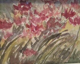 "Original Watercolor Painting ""Poppies in the Wind""  Mini Signed Impressionism"