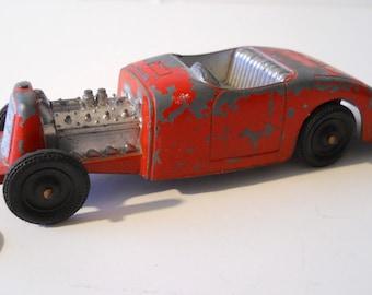 Vintage Jalopy Rat Rod toy car, metal, orange chippy paint, Tootsie Toy, Metal Masters, Hubley style
