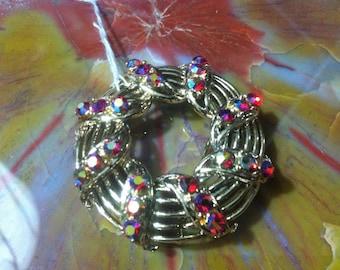 Vintage AURORA BOREALIS Rhinestone Round Brooch Pin