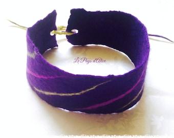Headband or headband in felted wool 100% Merino - purple