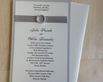 Modern Elegant Chic Silver Rhinestone Buckle Wedding Invitation set with RSVP and Envelopes
