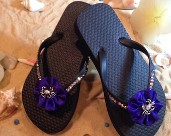 Gorgeous children's size 10/11 black flip flops with crab brooch! End of season SALE!