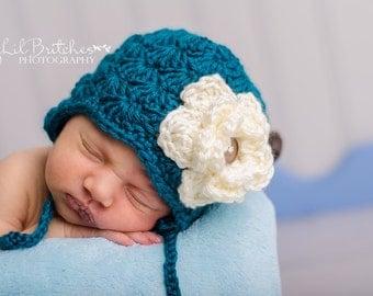 Crochet Shell Earflap Hat , photography prop