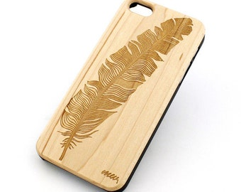 W19 Wood Case for Apple Iphone 5C - Feather Aztec
