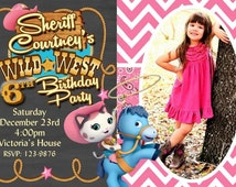 20 Sheriff Callie Birthday Invitation Rodeo Party Invitations Pink Chevron (envelopes included)
