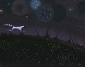 The Horse. A horse runs through a citrus grove in the night eager to meet all those at the magic gathering under the silvery moon.