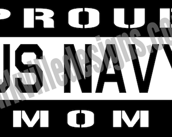 "Proud Navy Mom Decal (Style 2) - 5.5"" x 6.5"""