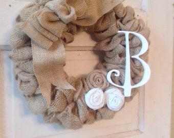 Burlap Wreath-Bow-Initial Wreath-Burlap Flowers-Burlap Home Decor-Front Door-Burlap-Door-Housewarming Gift-Burlap Decor-Wreath-Burlap Wreath