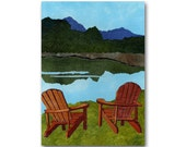 Adirondack Chairs - Childhood Memories - Retirement - Vacation - Camping - Retro Art CARD or PRINT with a Custom Cut Mat (CMEM2013023)