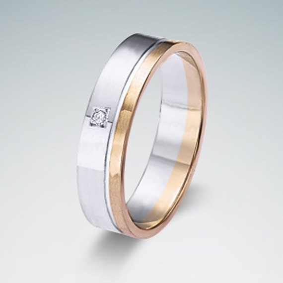 Mens 9K White And Rose Gold Wedding Band Ring 6MM