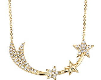 Shooting Stars 14k Solid Gold Necklace