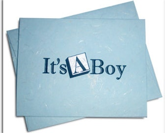 Handmade Paper Baby Blue Silk Paper Card and Envelope Set (25)