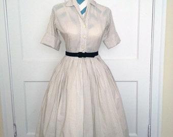 1950's Dress / 50s Dress Vintage Pin Up Shirt Dress Small Serbin Shirtwaister