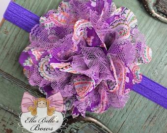 Purple Chiffon Flower Headband