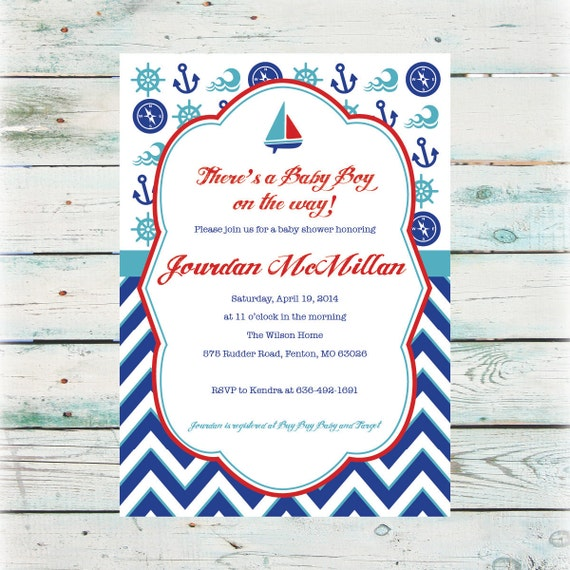 Printable nautical baby shower invitation baby boy shower like this item filmwisefo
