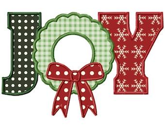 Christmas Joy Wreath Applique Machine Embroidery Design INSTANT DOWNLOAD Professionally Digitized - Super Cute!  --Buy 3 get 1 design FREE!