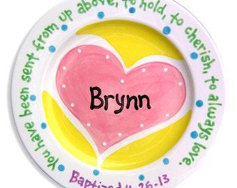 Personalized Hand Painted Plate - Kids Dinnerware - Ceramic