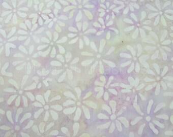 1758 Bali Batik Fabric White Flowers on Pastel Lilac Purple By The Yard