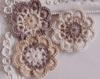 3 crochet flowers applique CH-041-04