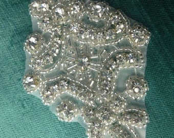 Rhinestone Appliqué ,Beaded Appliqué, Crystal Bridal Appliqué ,Clothing Appliqué Garter,Best Seller