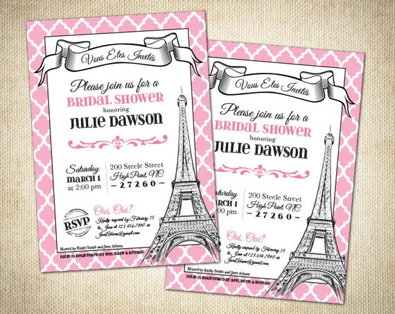 Paris themed bridal shower baby shower or birthday invitation for Paris themed invitations bridal shower