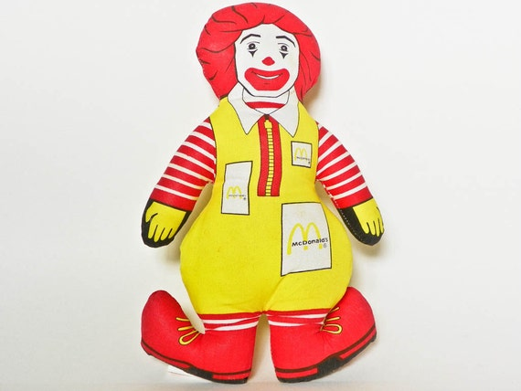 Small 1984 Ronald Mcdonald Pillow Toy Mcdonalds By Ankaasattic