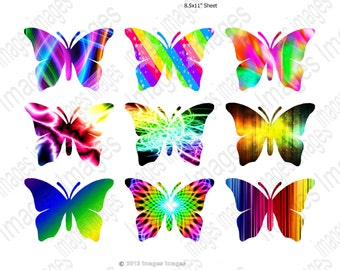 Printable Butterfly Clipart Digital Collage Sheet 9  Colorful Butterflies for Scrapbooking Clip Art  for Instant Download 300dpi commercial
