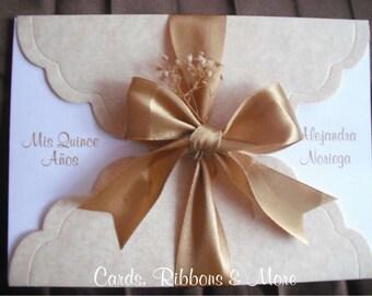 Quinceanera invitation, sweet sixteen invitation, sweet 16 invitation in handmade, vintage lace (antique look), custom invitation