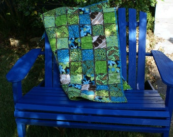Flannel and Chenille Tula Pink Rag Lap Quilt in Shades of Blue and Green