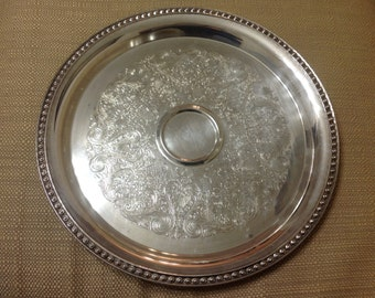 Vintage Wm ROGERS Large Round Etched Serving/Buffet Tray w Scroll Rim, 12 1/4""