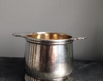 Vintage GRAND Silver Co Silver Soldered Sugar Bowl with Handles