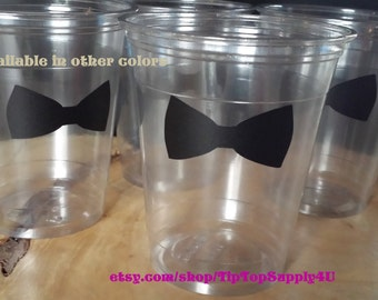 24 bow tie or bow  cups 10 oz. 12 oz. or 16 oz. clear disposable cup.  Baby shower, Little Man, Gender Reveal, Birthday, Princess. Bin-B-71