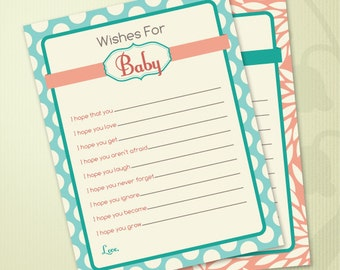 Floral and Polka Dot Printable Baby Shower Wish Cards in Coral and Aqua Teal