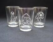 First Generation (Charmander, Bulbasaur, Squirtle) Pokemon Shot Glasses