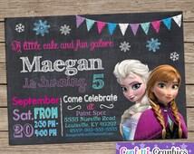 Frozen Birthday Invitation Chalkboard Chalk Girls Cute Anna & Elsa Colorful Custom Printable Personalized Invite Any Age Baby 1 2 3 4 5 6 7