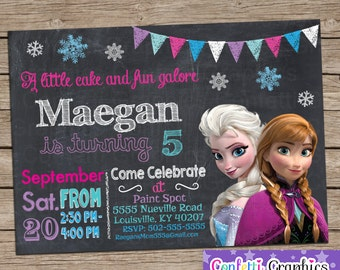 Frozen Birthday Invitation Chalkboard Chalk Girls Cute Anna & Elsa Colorful Custom Printable Personalized Invite Any Age Baby 1 2 3 4 5 6 7