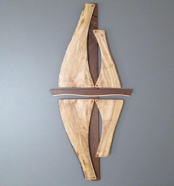 Wood Sailboat Wall Decor : Wood wall art sailboat reflections sculpture