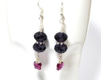 Butterfly Dangle Earrings in Purple Velvet and Fuchsia
