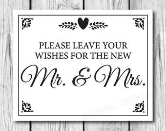 Wedding Sign, Printable Wedding Sign, Wedding Leave Your Wishes Sign, Wedding Decor, Wedding Signage, Wedding Guest Book Sign