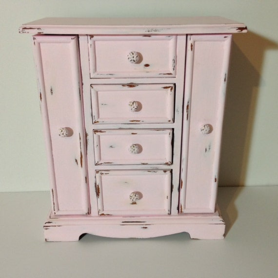 shabby chic jewelry armoire vintage light pink wood