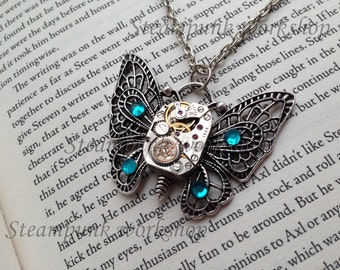 Handmade STEAMPUNK Pendant Butterfly with Vintage Watch Movement and Swarovski