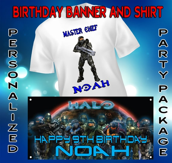 Personalized Halo Shirt and Banner Package- Master Chief, Video Game, Xbox