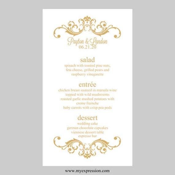 Wedding Menu Card Template Vintage Scrolls Gold Instant
