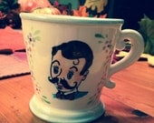 Vintage Hand Painted Mustache Mug with a Mustache Man