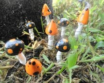 wonderful set of 24 tiny twist mushrooms theres 12 button and 12 pointy tops 1/2 inches tal indoor outdoor use terrarium