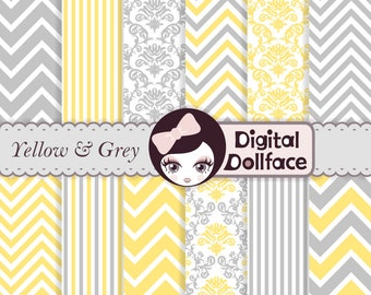 Yellow and Grey Digital Paper, Chevron, Damask, & Stripe, Commercial Use