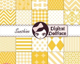 Sunshine Digital Paper, Yellow Scrapbook Paper Pack, cute, bright, kids