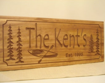 Custom Lake House Signs, Kayak, Cottage Decor, Personalized Cabin Signs,  Rustic carved Sign, Wooden Carved Sign, Personalized Wood Sign