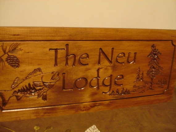 Wood carved cabin signs family last name welcome signs pine for Cabin signs wood